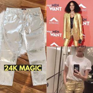 Pants - NWT Gold pleather faux leather pants Retro 34 1970